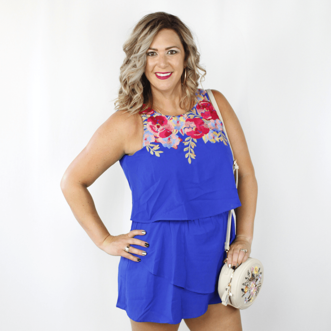 Royal Blue Embroidered Romper