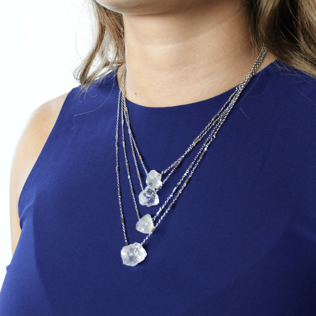 Layered Silver Stone Necklace