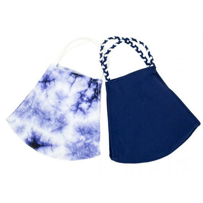 Indigo Tie Dye Pom Face Covering 2 Pack