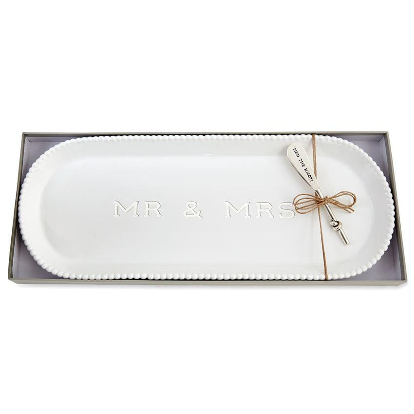 Mr & Mrs Beaded Hostess Tray Set