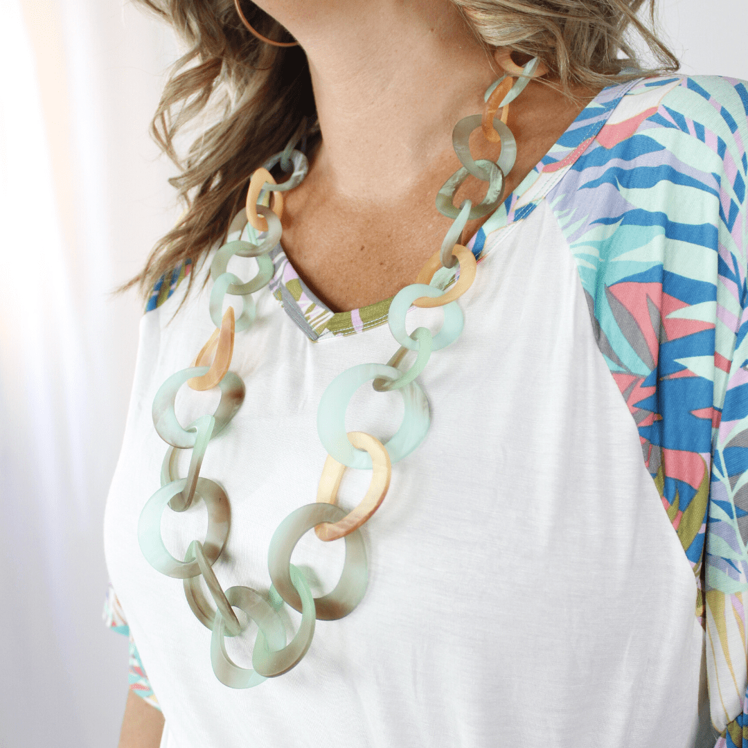 Turquoise Chain Link Necklace Set