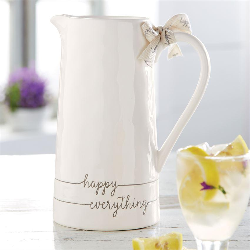 Happy Everything Ceramic Pitcher