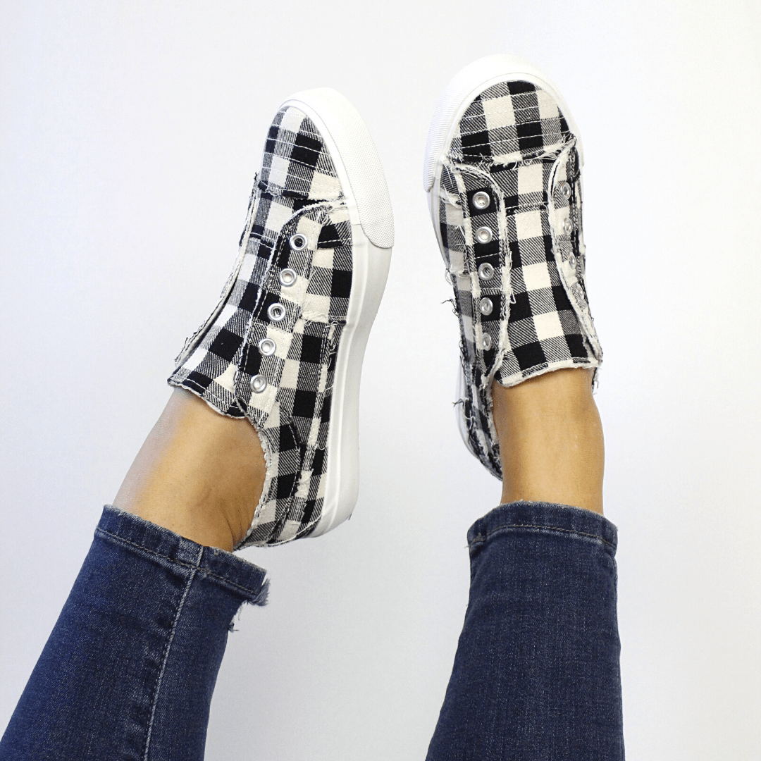 Babalu White Plaid Sneakers