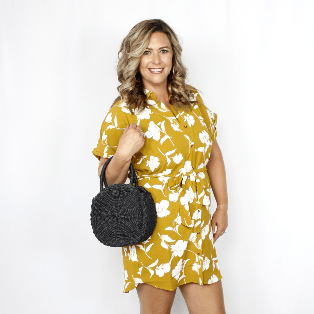 Mustard yellow and white floral dress with drawstring waist