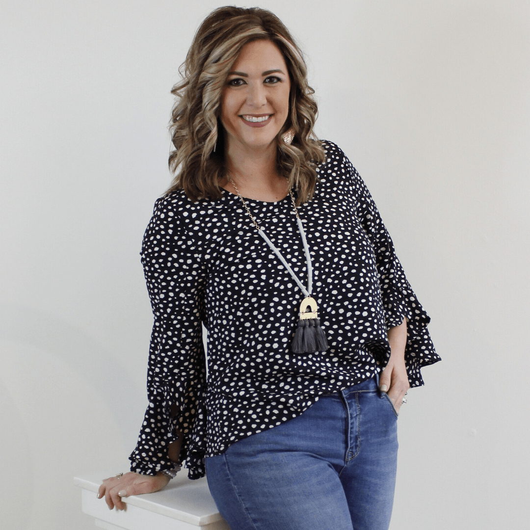 Black and white polka dot ruffle sleeve blouse