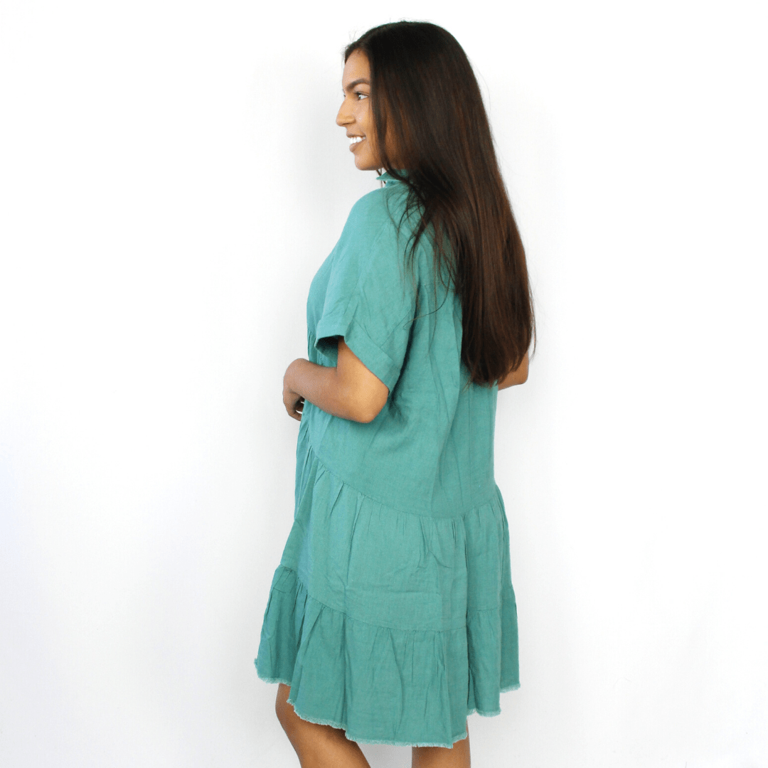 Jade green tiered ruffle dress
