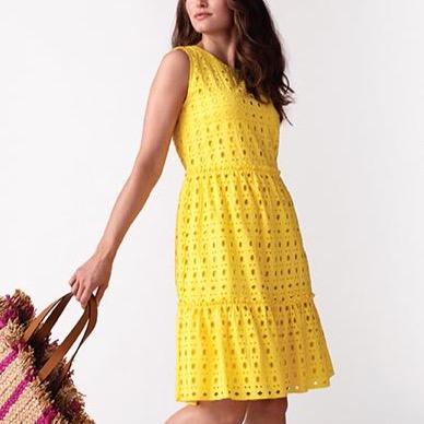 Lemon Crew Neck Layered Dress