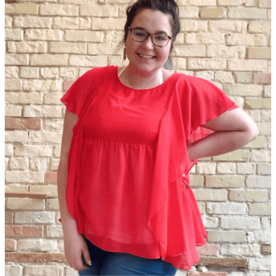 Red Ruffle Sleeve Top