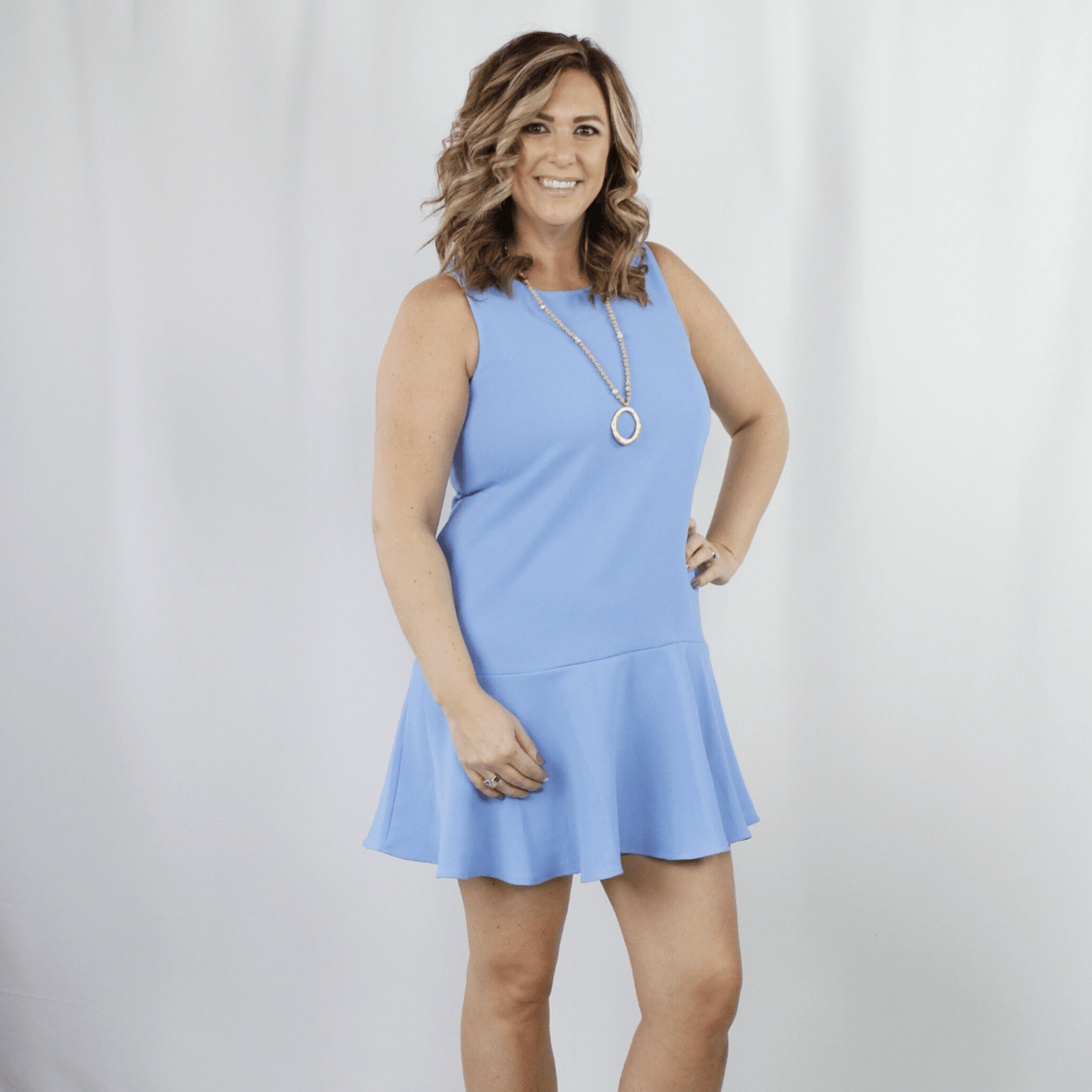Periwinkle Ruffle Hem Dress