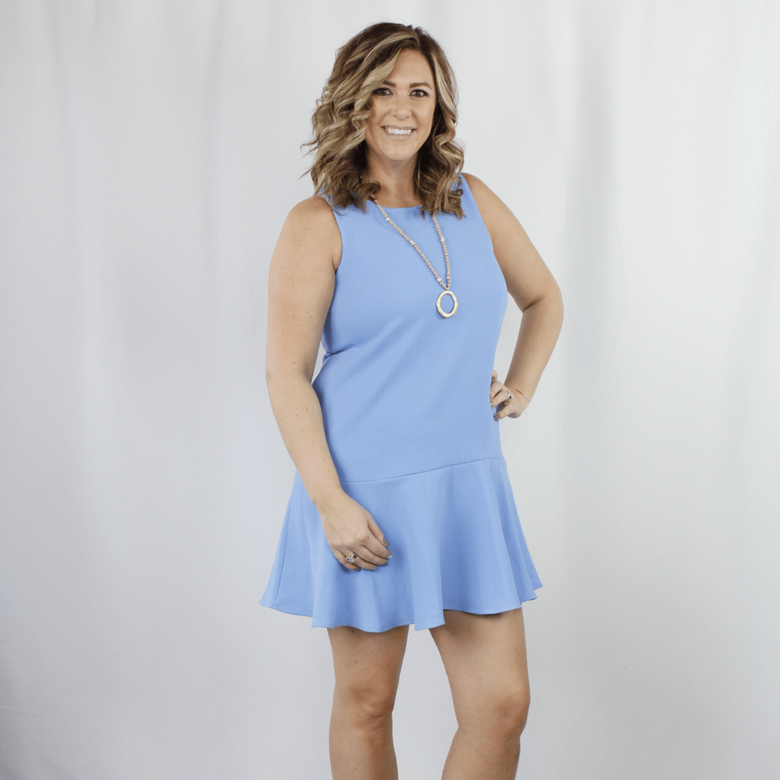 Periwinkle blue dress with ruffle bottom