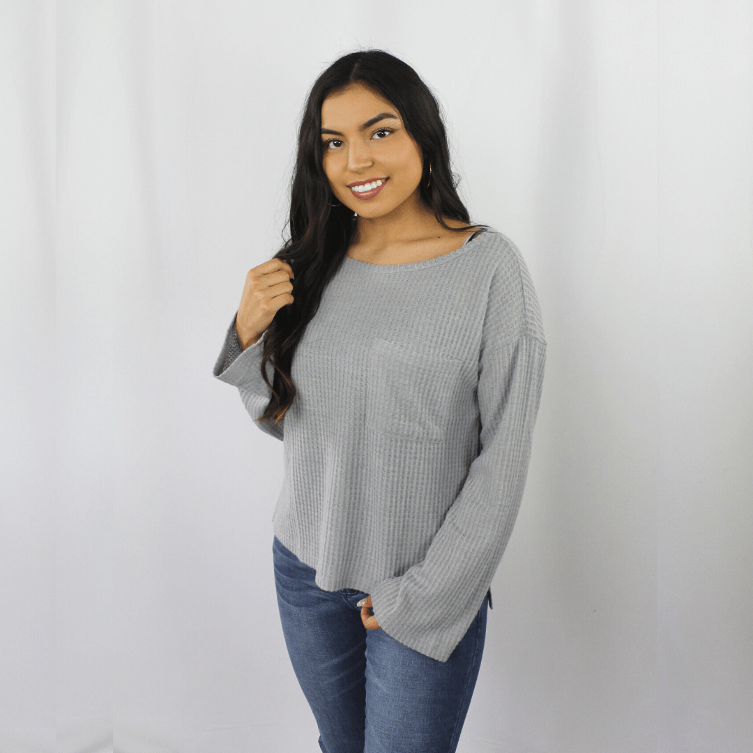 Grey Thermal Pocket Top