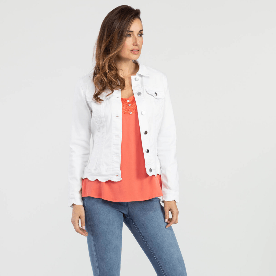 White Scallop Hem Jacket