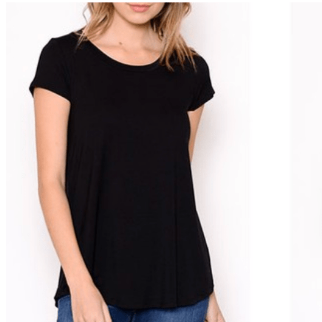 Black Basic Cap Sleeve Top