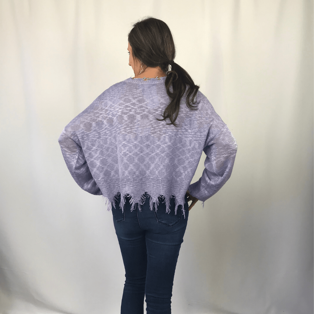 Lavender Distressed Sweater