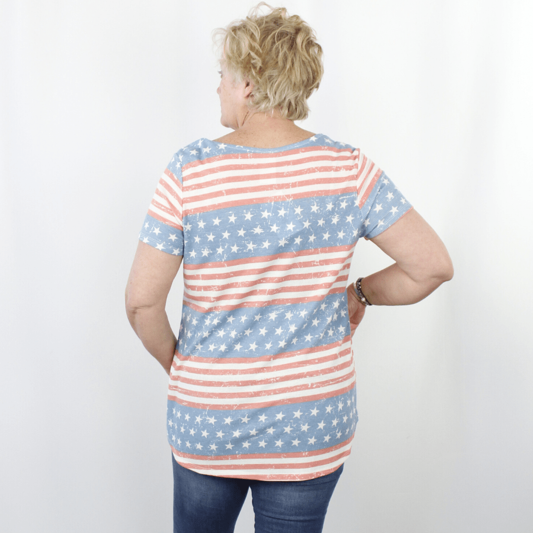 Red, white, and blue stars and stripes v-neck short sleeve shirt