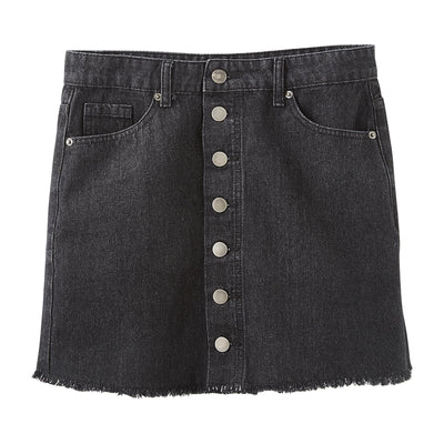 Black Fitz Button Front Skirt