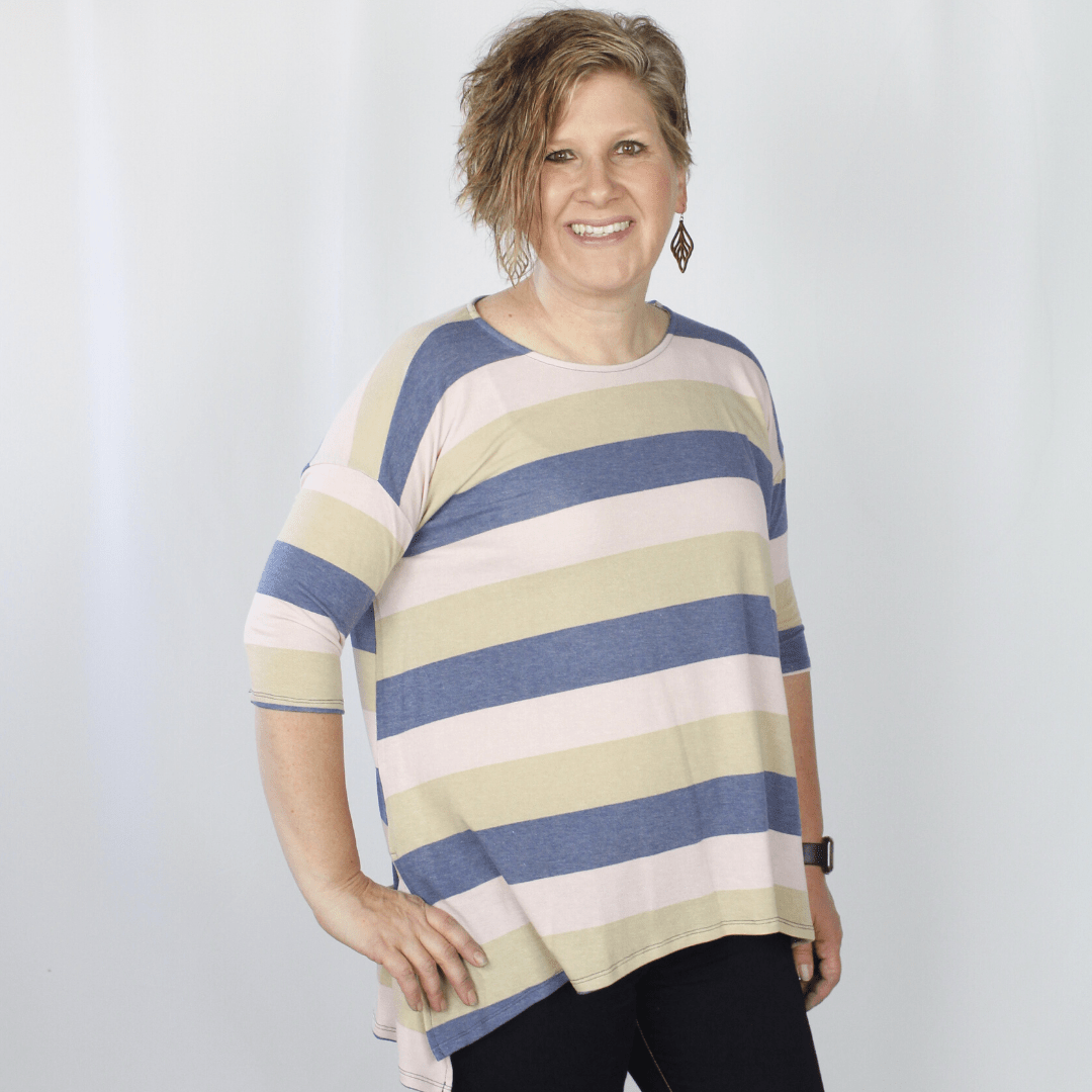 Navy Taupe Stripe Boxy Top