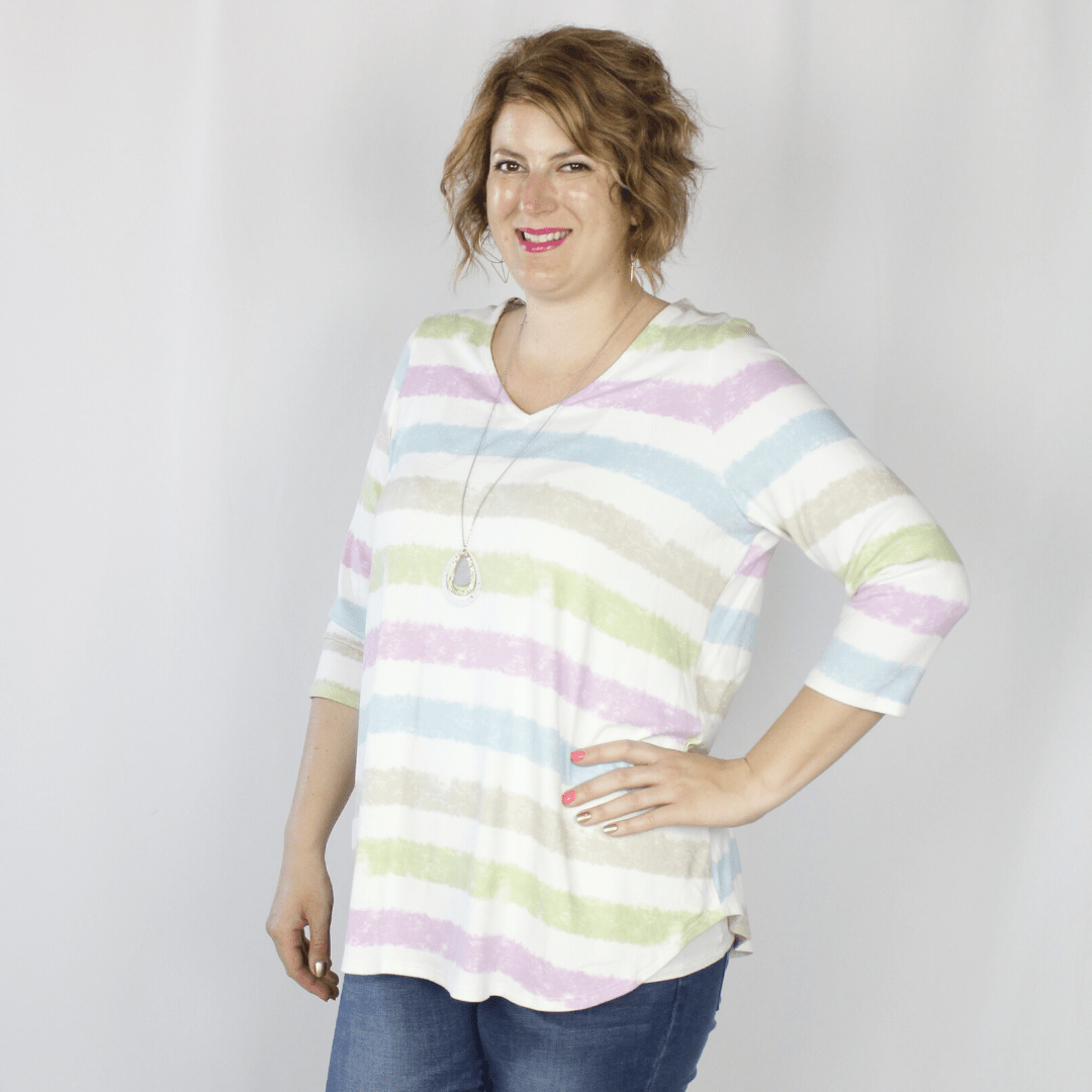 Lavender Stripe Top