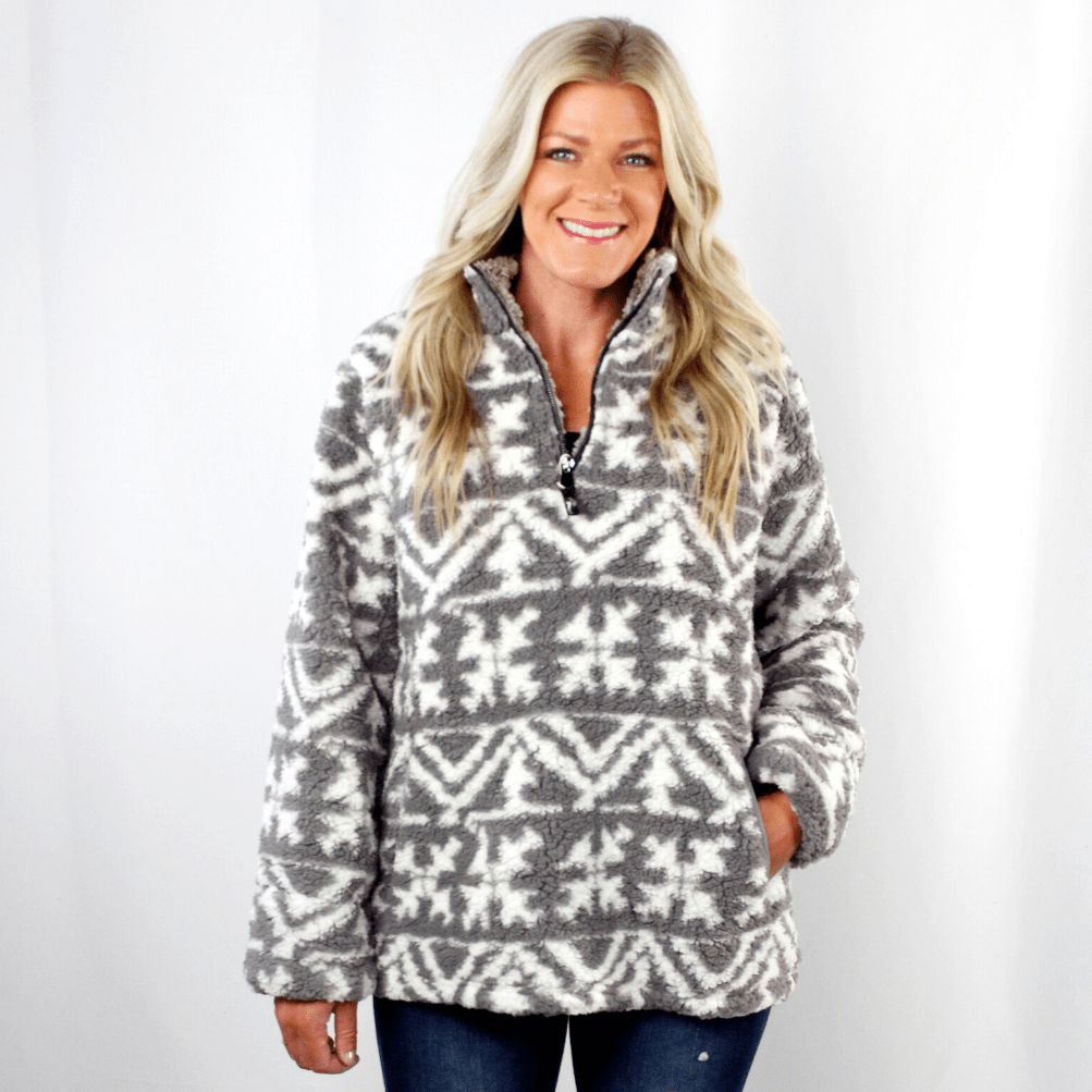 Aztec Snowflake Sherpa Pullover