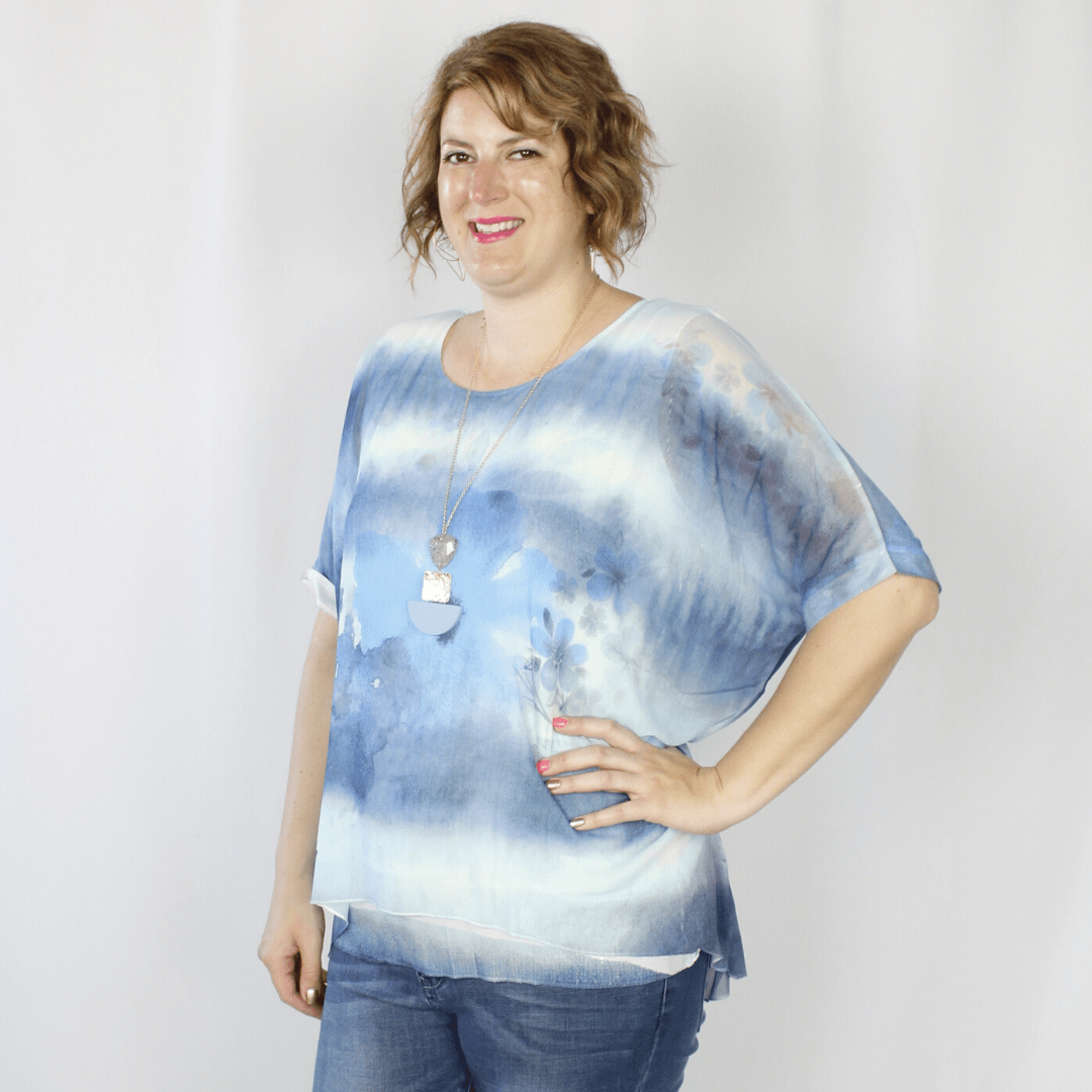 Ombre Blue Flower Top