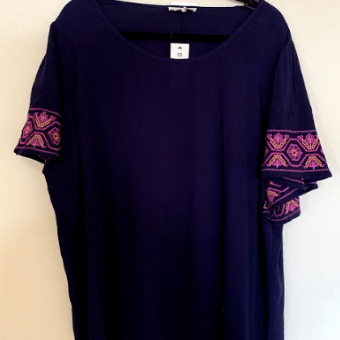 Navy Magenta Emb Top