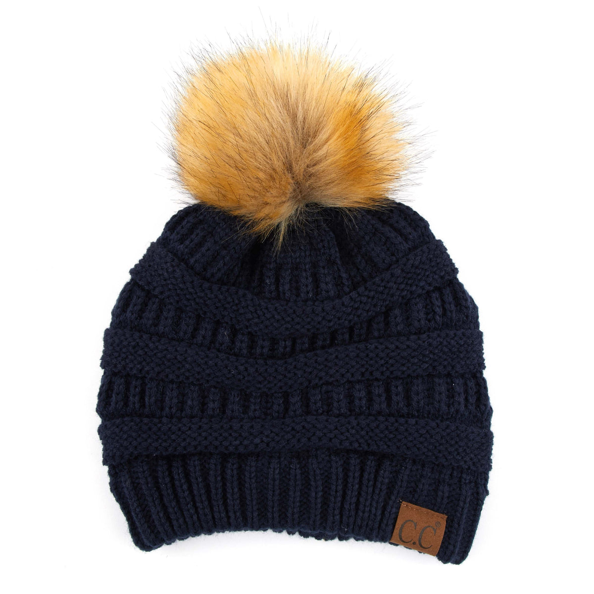 Solid Ribbed Fur Pom Beanie
