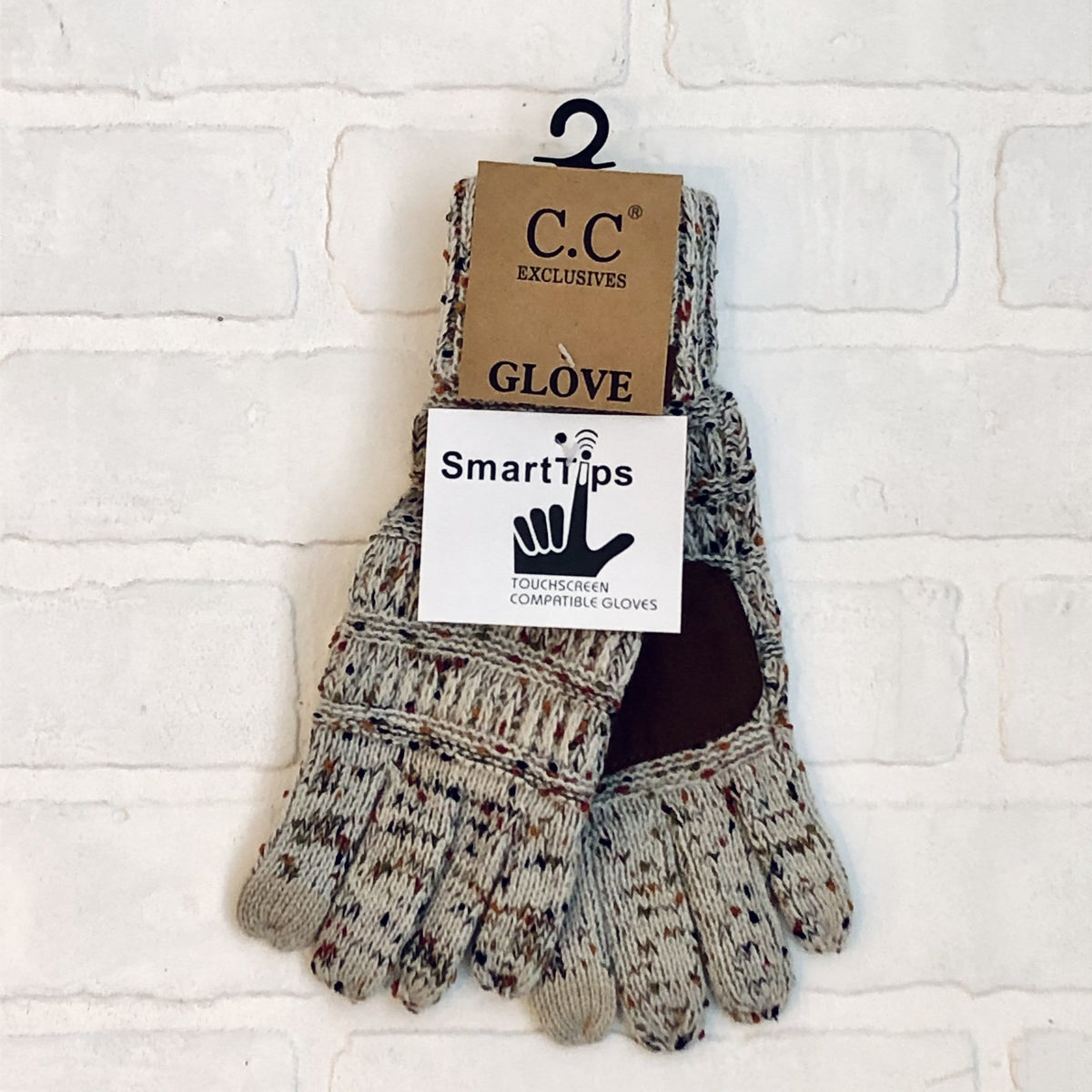 Oatmeal Cable Confetti Smart Top Glove