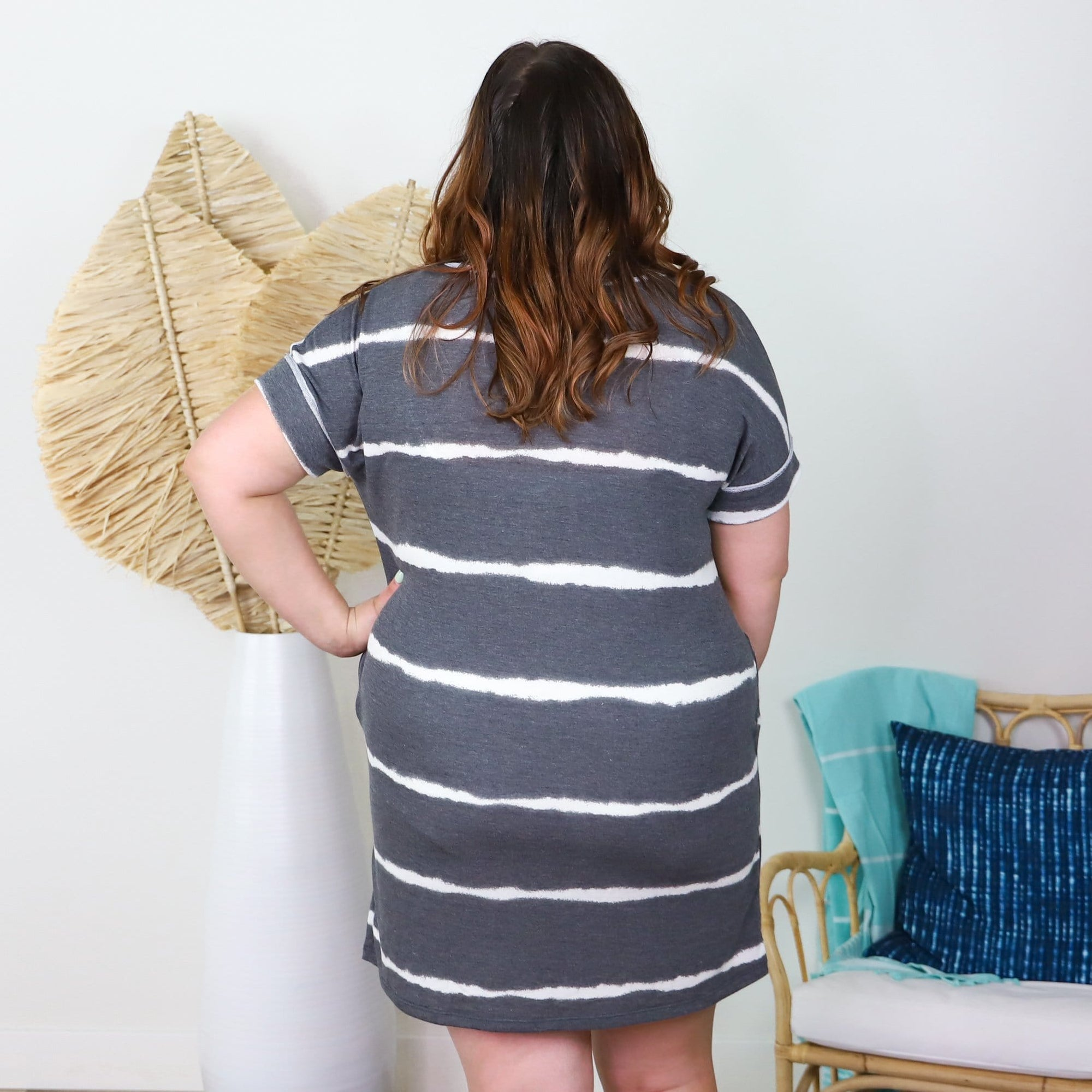 Charcoal Stripe Vneck Pocket Dress