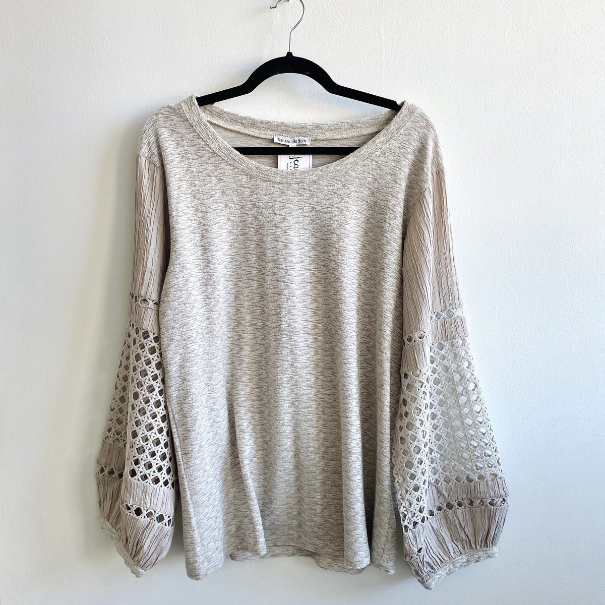 Taupe Crochet Slv Top