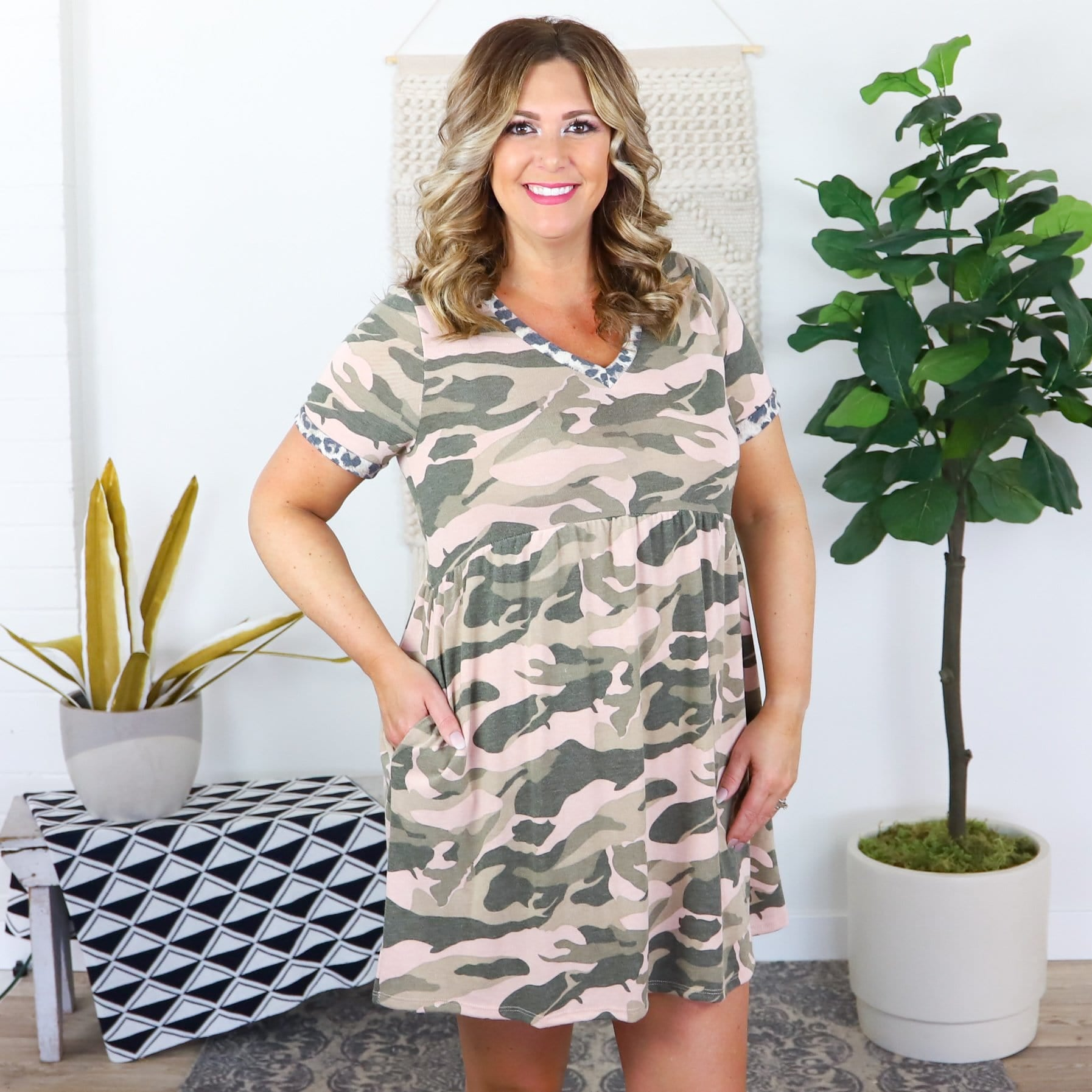 Pink Green Camo Printed Dress