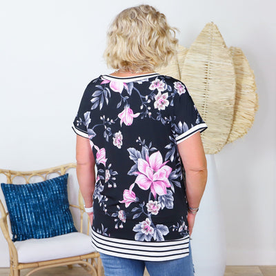 Floral Top with Striped Edges