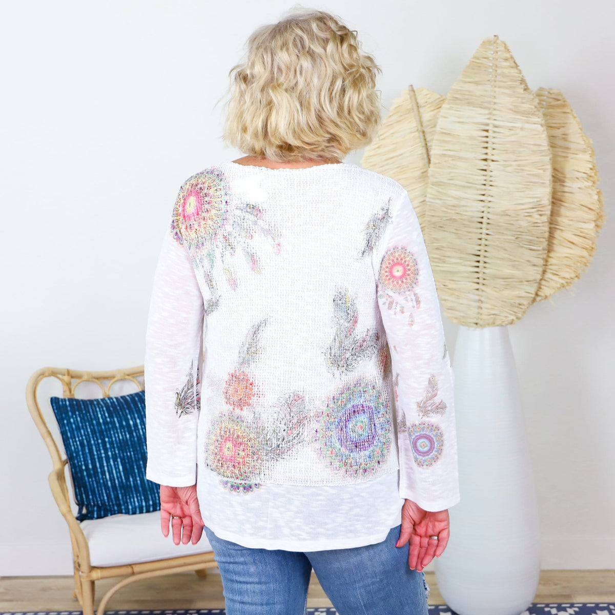 White Layered Lace & Medallion Blouse