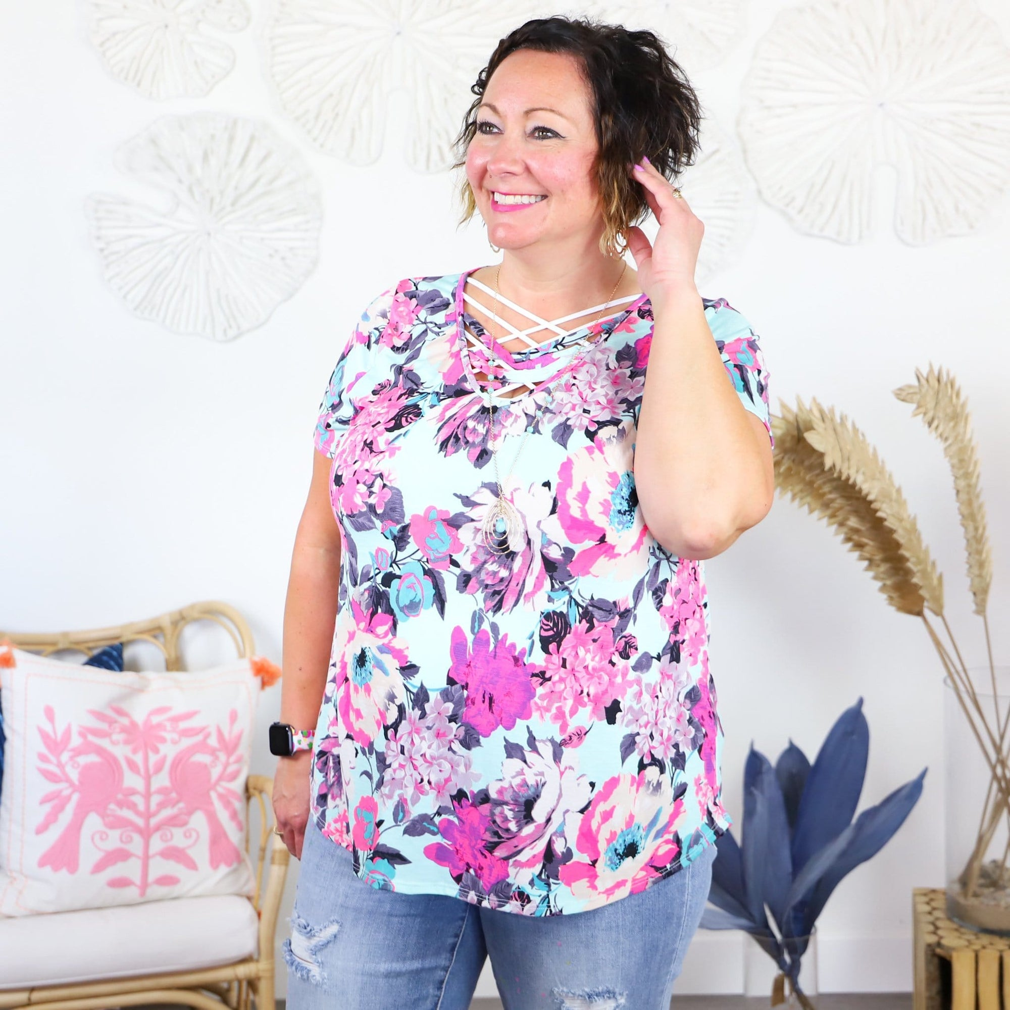 Aqua Pink Floral Neck Detail Top