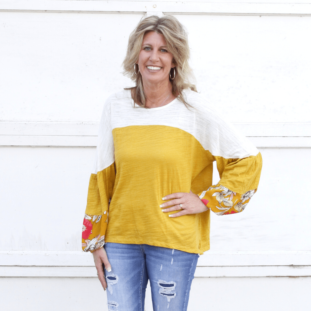 Mustard Colorblock Leaf Puff Sleeve Top