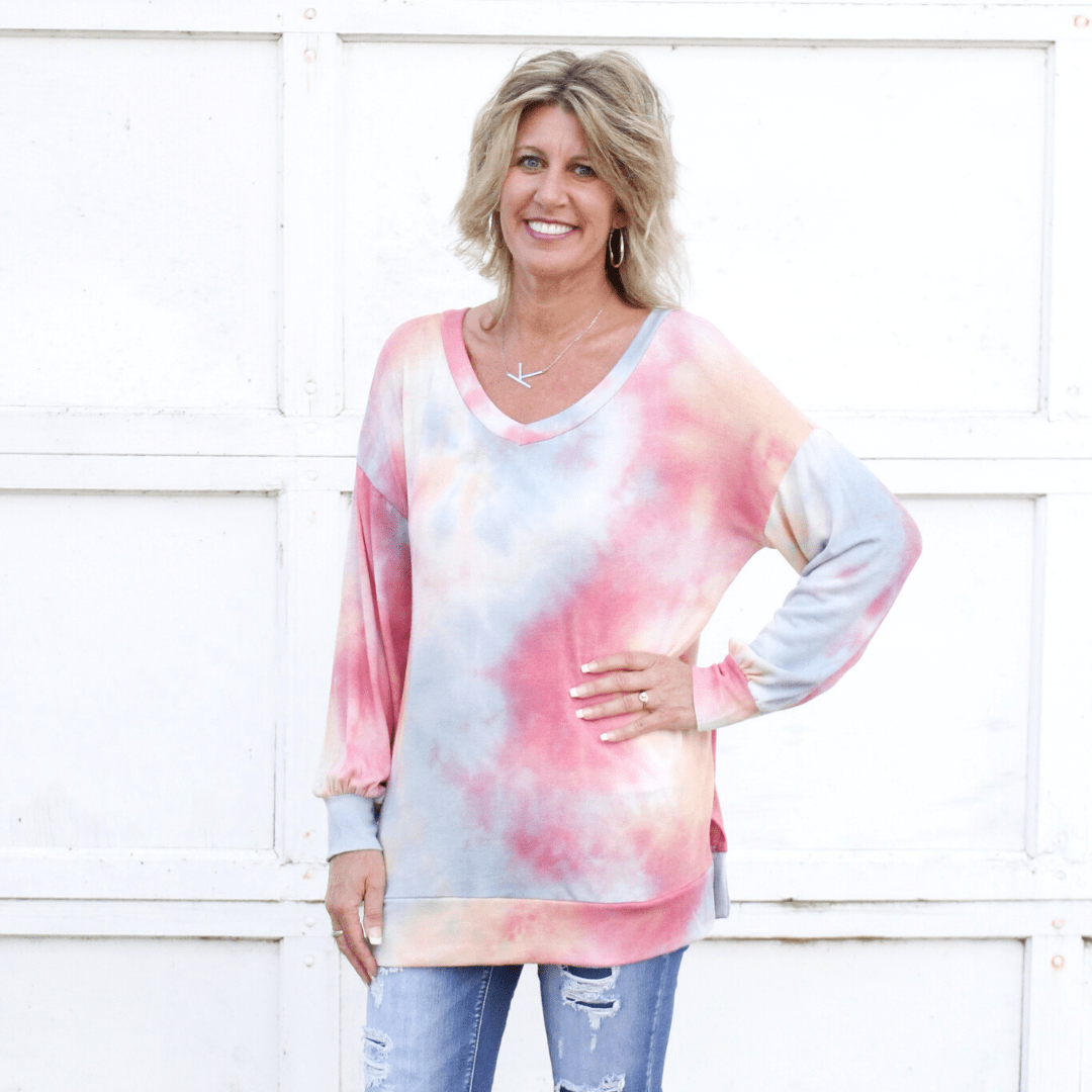 Pink Tie-Dye French Terry Top