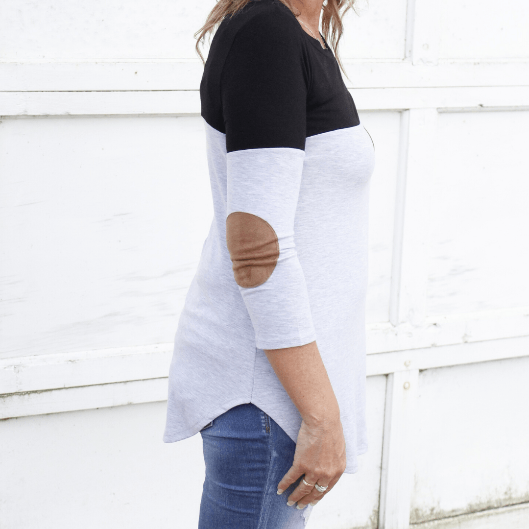 Colorblock Suede Elbow and Pocket Top