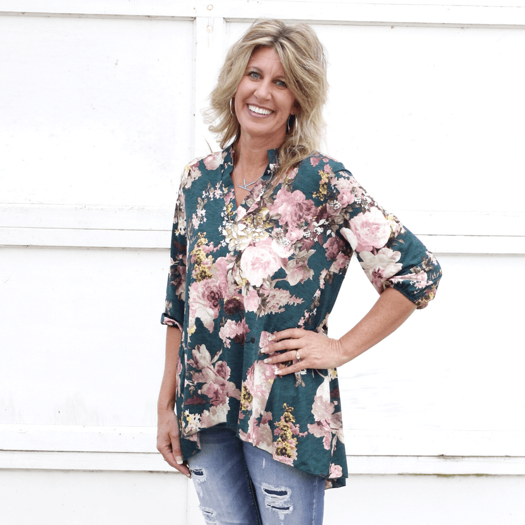 Green Floral 3/4 Sleeve Top