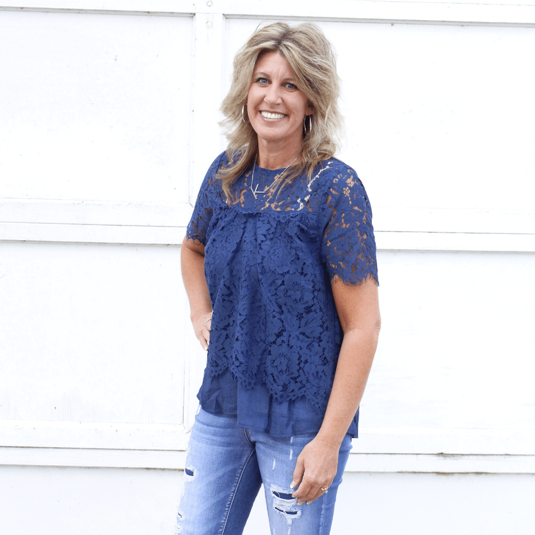 Navy Floral Lace Keyhole Top