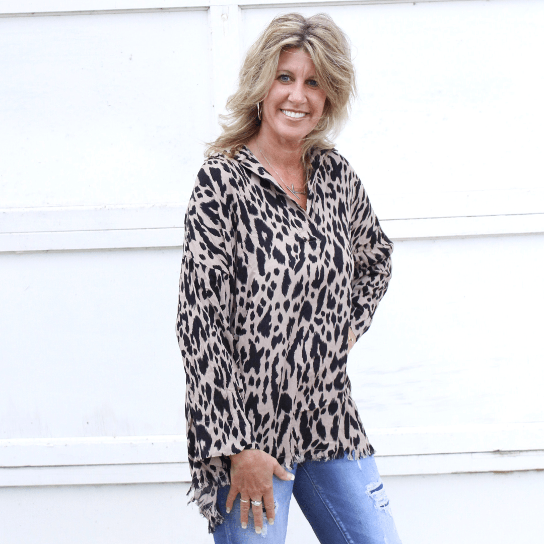 Mocha Animal Frayed Hem Tunic