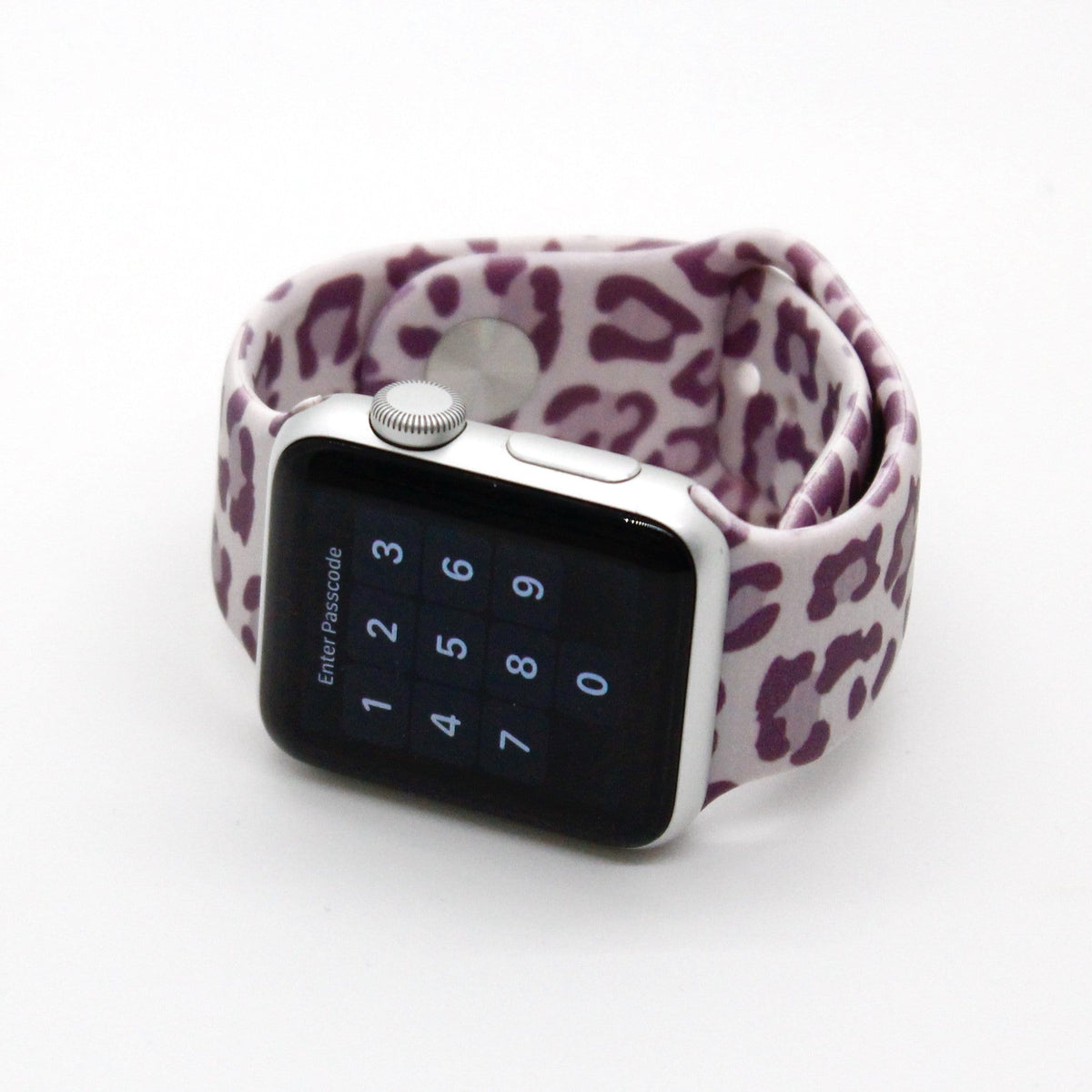 Lavender Leopard Silicone Watch Band