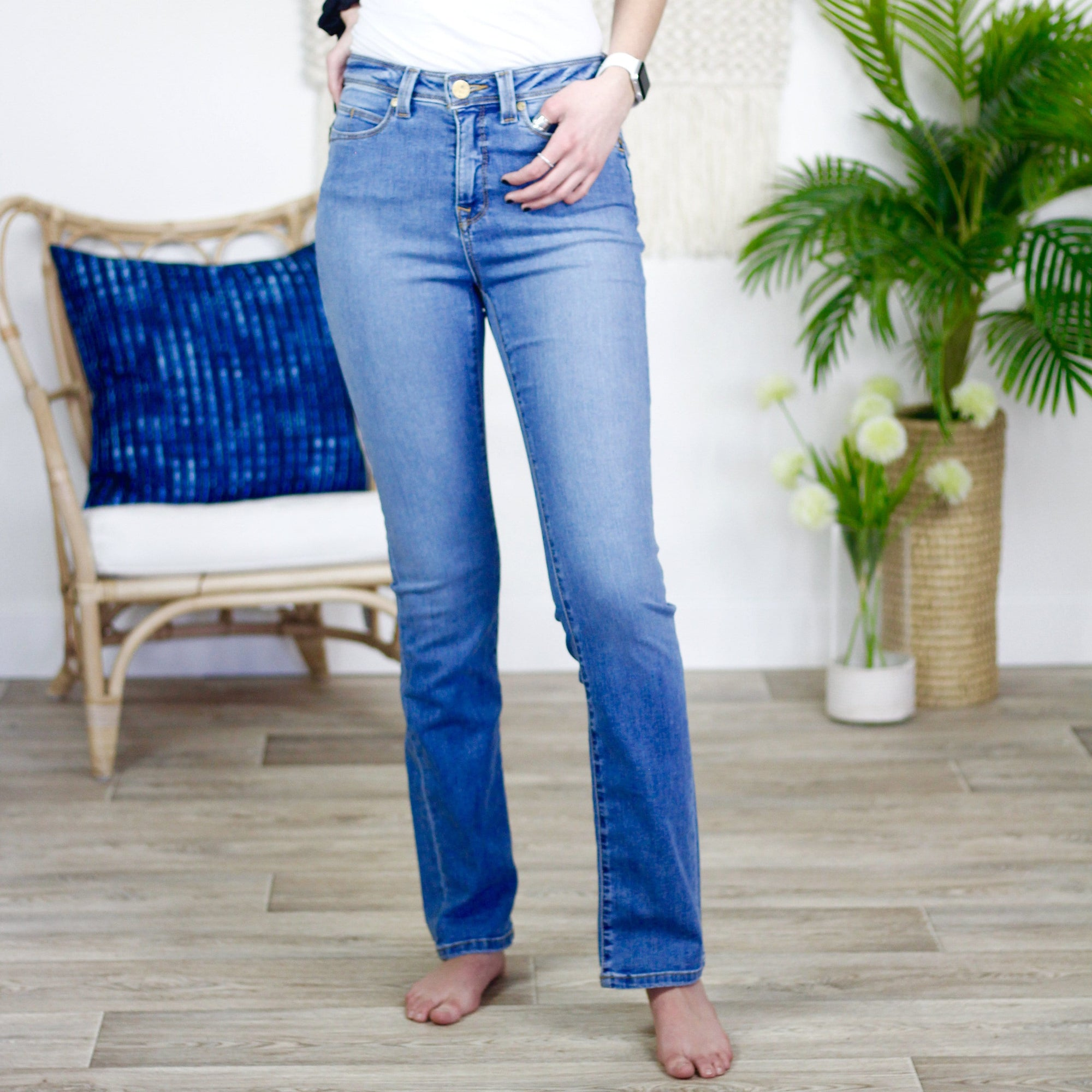 Light Blue Distressed Kate High-Rise Straight Jean