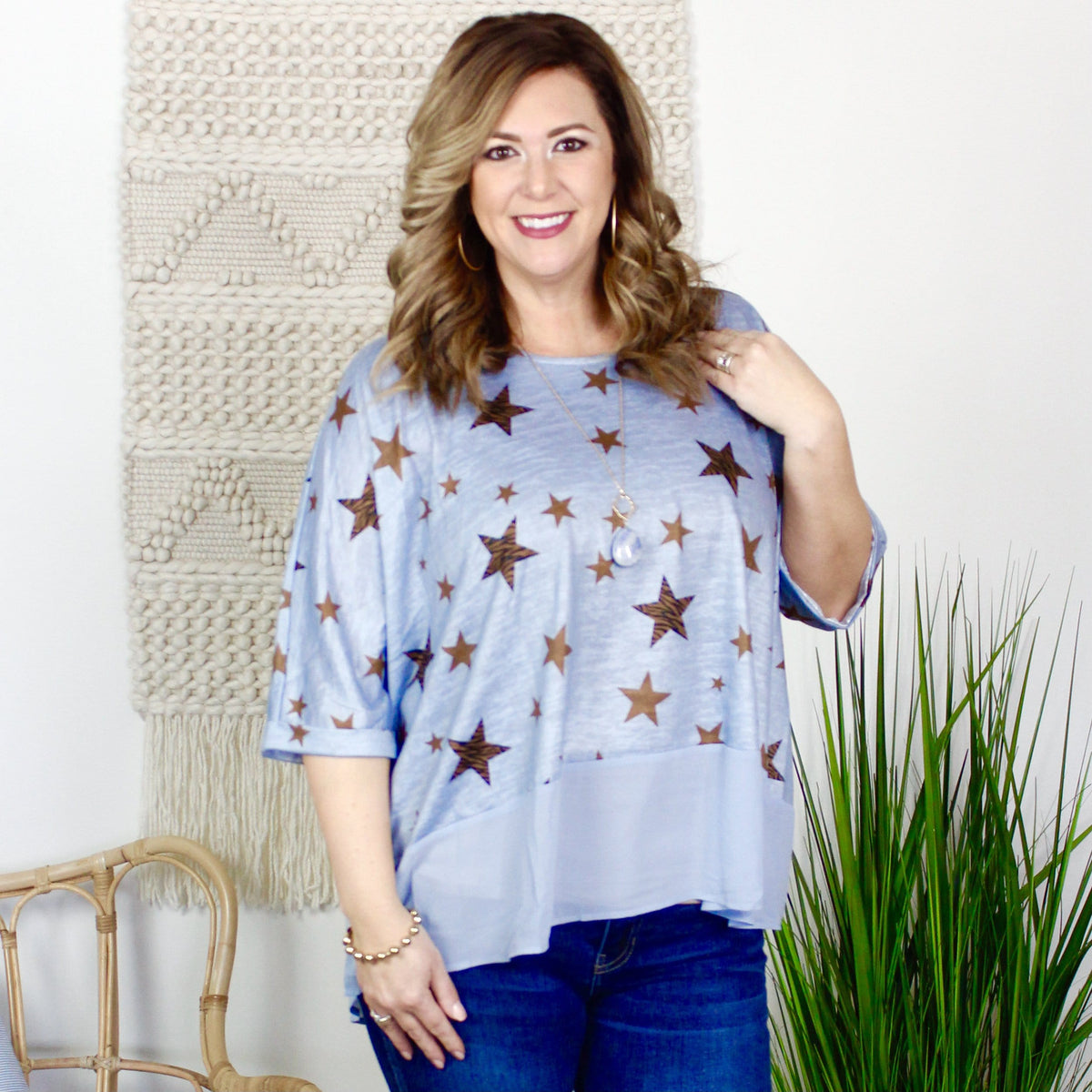 Animal Star Sheer High Low Top