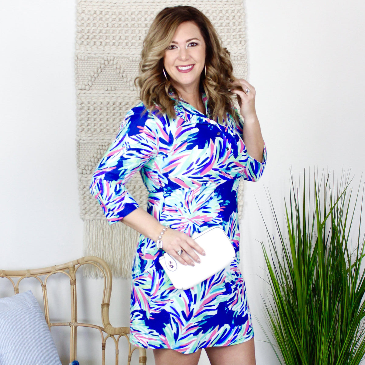 Navy Print Quarter Ruffle Neck Shift Dress