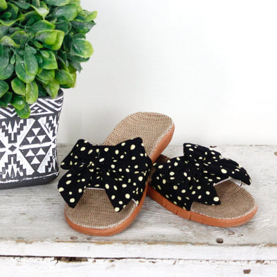 Polka Dot Bow Slides