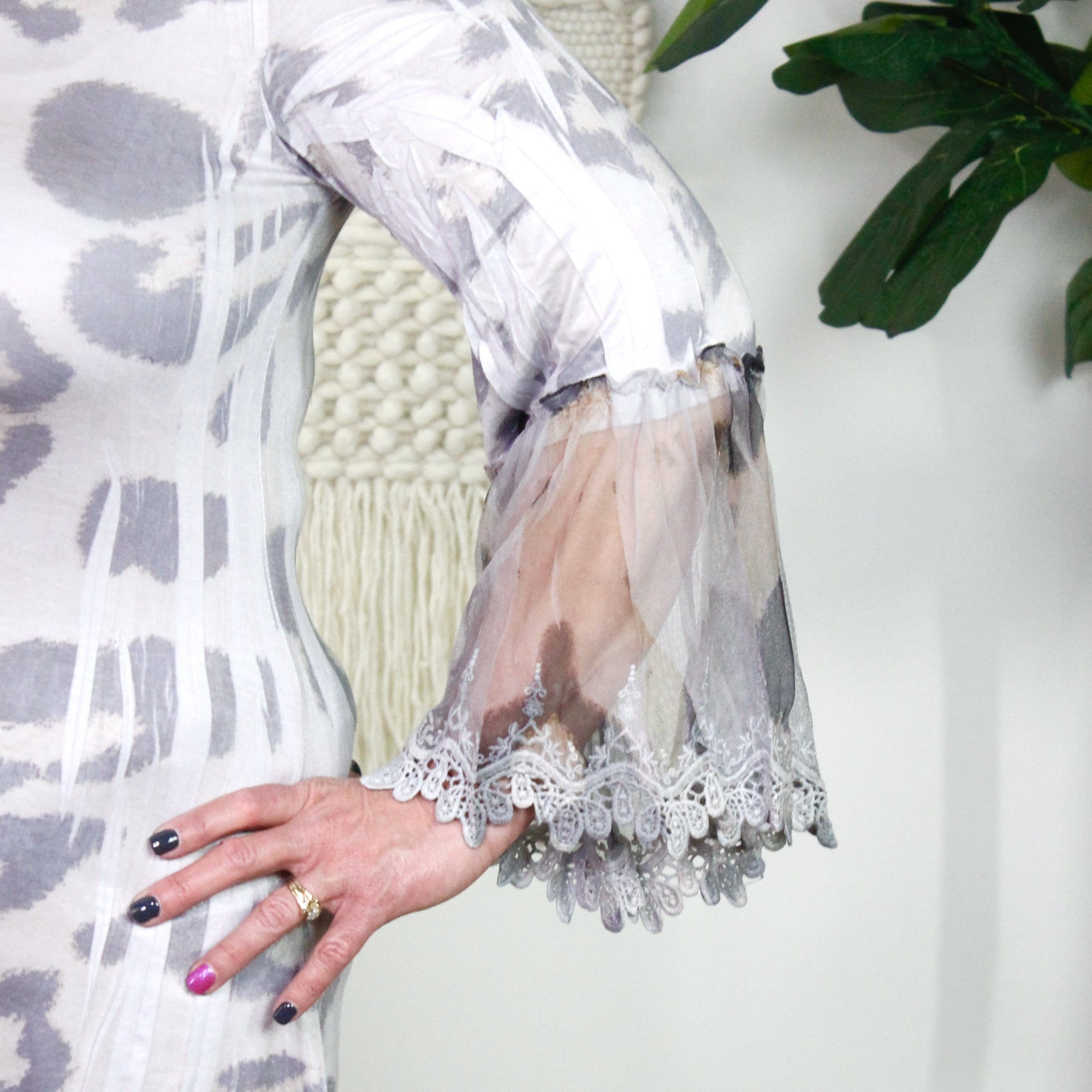 Silver Leopard Lace Detail Sleeve Top