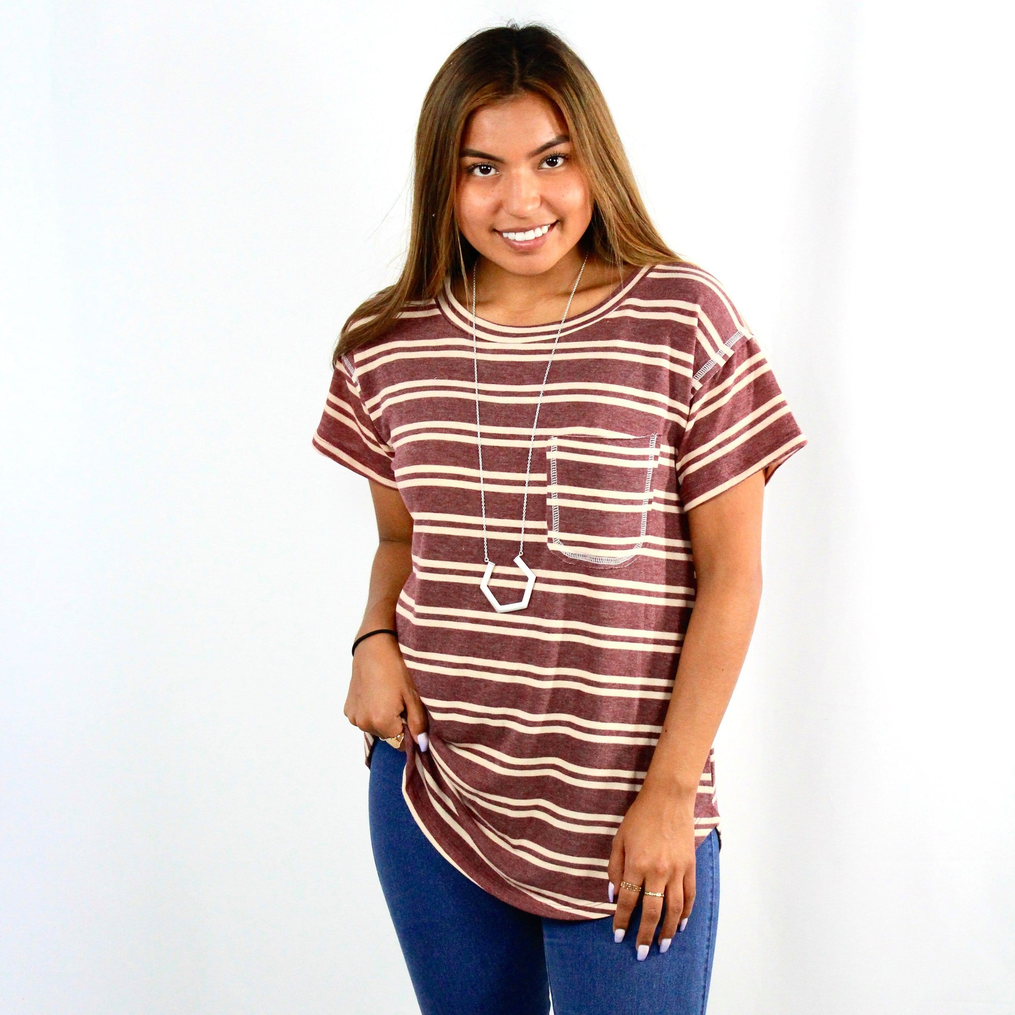 Striped Boyfriend Pocket Top