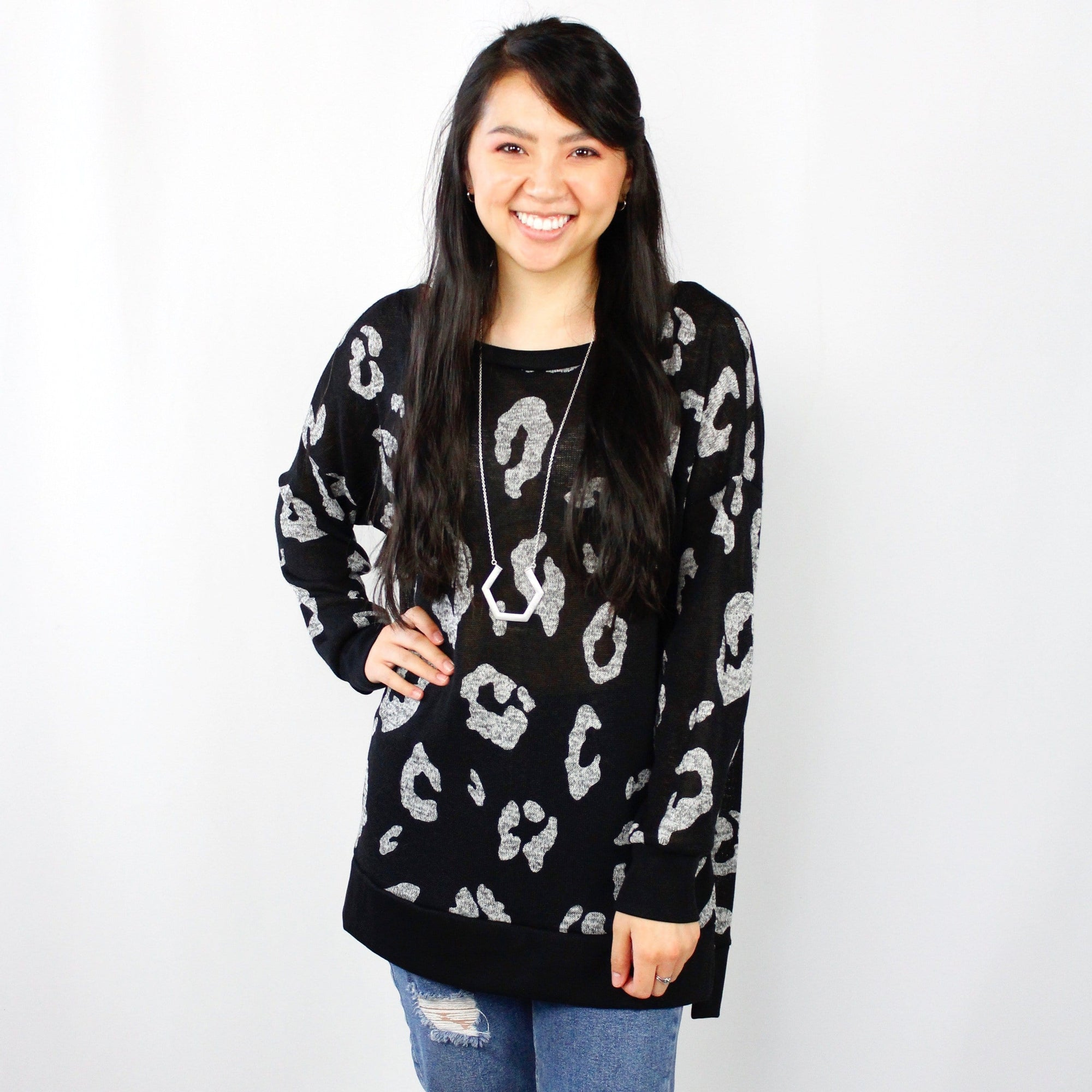 Knit Black Leopard Light Sweater