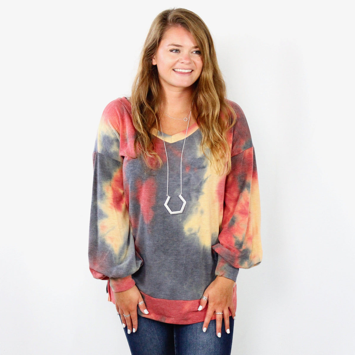 Tiedye Balloon Sleeve Weekender Top