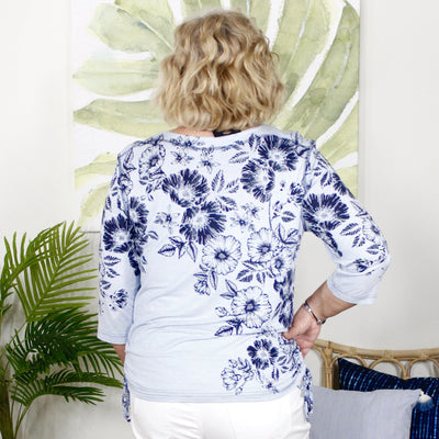Denim Floral 3/4 Sleeve Top