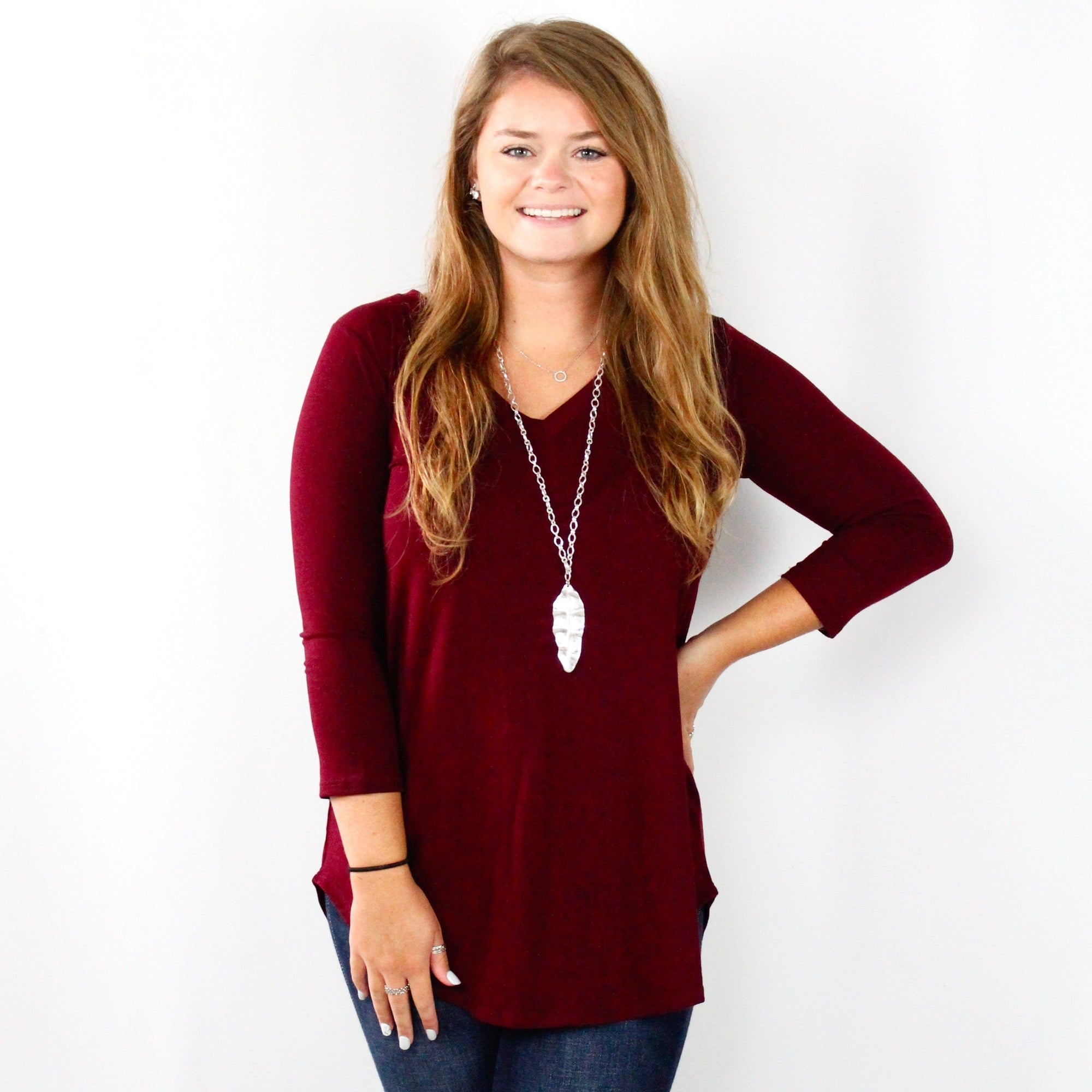 Basic Vneck Round Hem Top